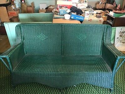 Antique  Wicker Patio  Sofa Couch  Love Seat