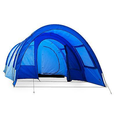 4 Man L Arge Tunnel Tent Trekking Camping Summer Holidays Blue 5000 Mm Fly Net