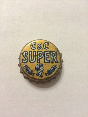 "Vintage ""c & C Super"" Soda Bottle Cap--Caeser's Head Picture. Cork Lined--Rare!!"