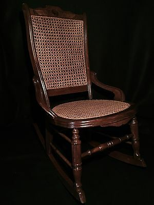 19th Century Victorian Rocking Chair w/Back Rest & Seat Cane Webbing