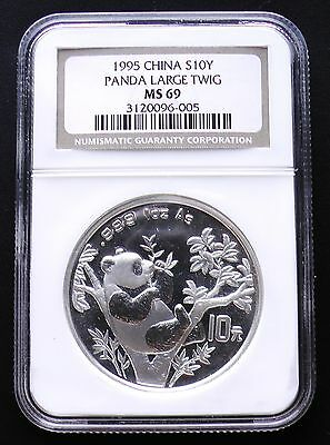 1995 China Silver 10 Yuan Panda LARGE TWIG Variety NGC MS69