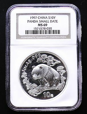 1997 China Silver Panda 10 Yuan SMALL DATE Variety NGC Certified MS69