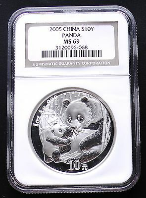 2005 China Silver 10 Yuan Panda Coin NGC MS69 Graded