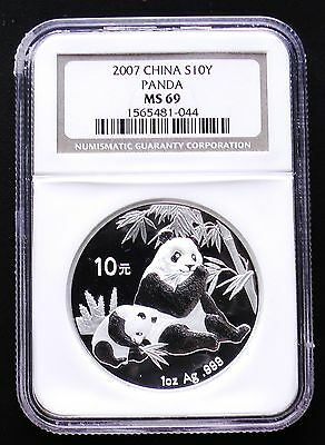 2007 Chinese Silver 10 Yuan Panda NGC MS69 Choice Uncirculated
