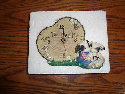 "1996 Enesco - Mary's Moo Moos - ""Time For Moo"" - Cow Couple Clock  #212768"