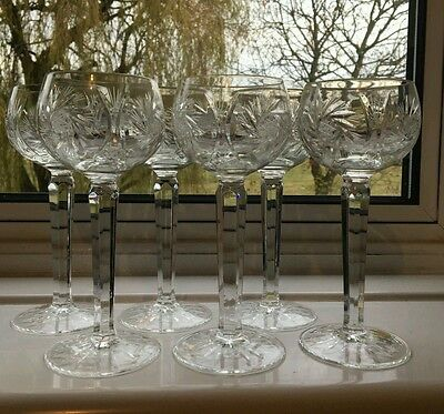 "Set of 6 Crystal Wine Glasses - 18cms  (7-1/8"") tall"