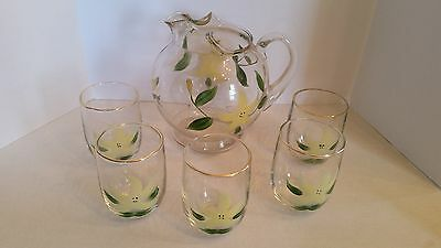 Vintage clear glass Water/Lemonade pitcher set, hand Painted, Yellow flower