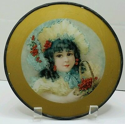 Antique Glass Flue Cover Beautiful Victorian Girl with Basket of Cherries