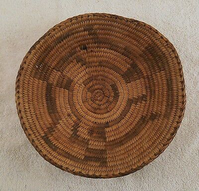"""OLD ANTIQUE NATIVE AMERICAN APACHE? INDIAN COILED BASKET BOWL 8"""" (Early 1900's)"""