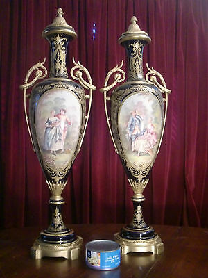 Pair Of Palace Size French  Sevres Hand Painted Porc. Urns, Gilded Bronze , 19C.