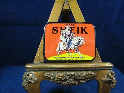1930's Three Sheik Condom Tin w/ Two Condoms, Excellent Condition