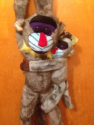 "FAO Schwarz  24"" Plush Fiesta Monkey Mandrill with baby Long Legs  NEW with tags"