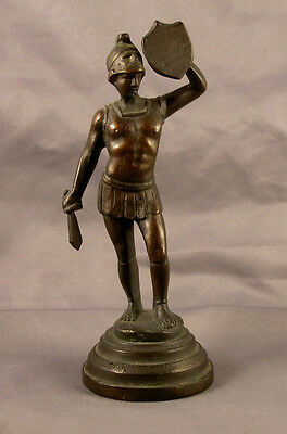 Small Antique Bronze Figure Statue of Standing Classical Male Warrior