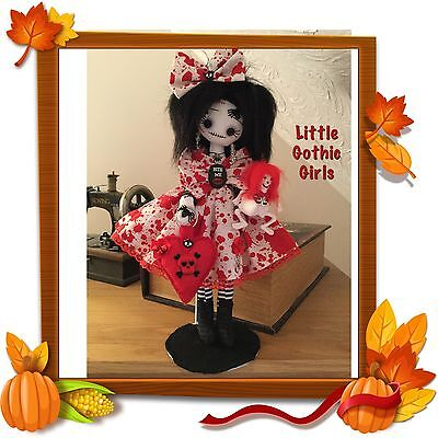 """Aura the 12"""" Gothic hand made rag doll by Little Gothic Girls"""