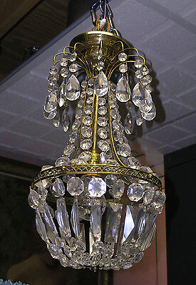 Vintage 1950's French Hot Air Balloon Style Chandelier - Goldtone w/ Prisms
