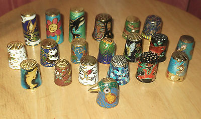 20 Cloisonne Collector's Thimbles. Lovely Lot.