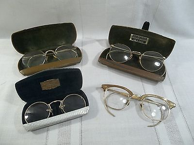 Collection of Vintage Gold Filled Eyeglasses~American Optical, Shuron & SUN-TAN~
