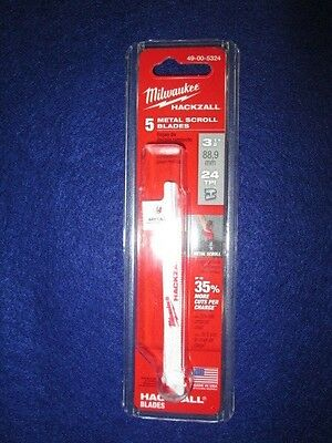"Milwaukee 49-00-5324 3-1/2"" Hackzall Blades Pack Of 5 Metal Scroll New"