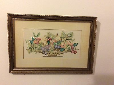 """Completed Cross Stitch Picture Bowl Of Fruit 18""""x12"""""""