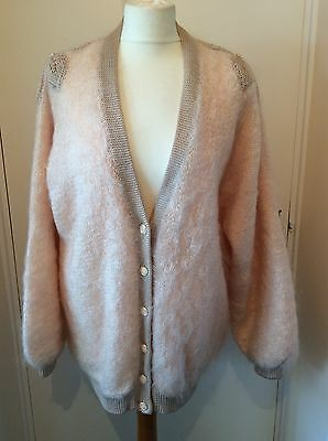 Vintage Oversized Mohair Cardigan Baby Pink Size XL
