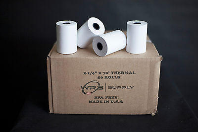 "Verifone Vx520 2-1/4"" x 70' Thermal Paper (50 Rolls)"