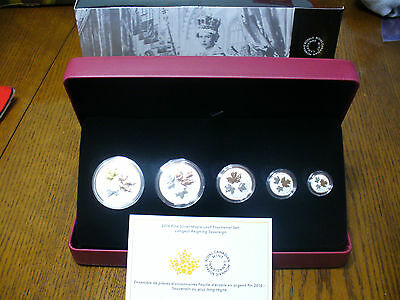 2016  Canada Fractional Coin Set Pure  Silver Coins  .9999   5 Coin  Proof Set