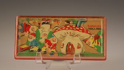 Vintage Wooden Simplex Gnome Puzzle in Case, Made In Holland