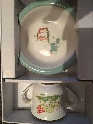 Cath Kidston Baby Christening Gift Set Zoo Animals Cup & Bowl