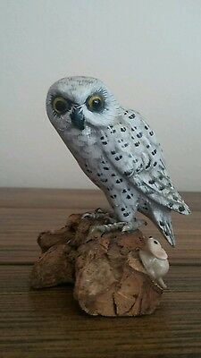 "3"" H.,  HANDCARVED, HANDPAINTED  WOODEN OWL FIGURINE ON BRANCH .(mini figurine )"