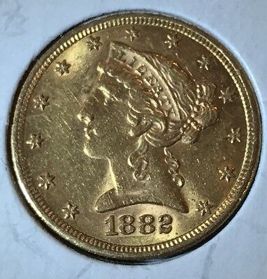 1882 S  -  Take A Look At This Beautiful $5 Gold Liberty Coin!!!