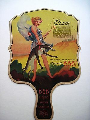 Vintage Advertising Fan w/ The Goddess Diana Pictured w/ 666 Products Ad *