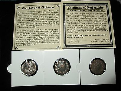 "PREMIUM Ancient Roman Christian Coin""THE FATHER OF CHRISTMAS"" 270- 275 AD w/ COA"