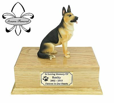 Luxury Solid Wood Oak Urn, pet, dog, ashes, memorial, German Shepherd