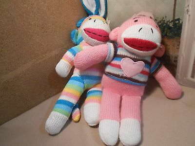 2 RANDOM BEARS SOCK MONKEY AND BUNNY Stuffed Animal Toy  NHT GIRLS NO TUSH TAG