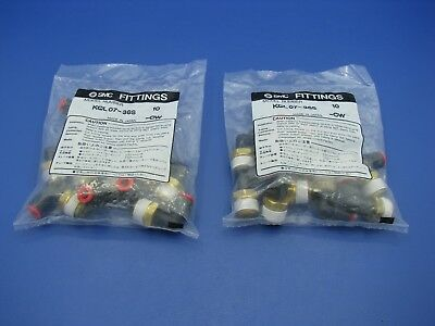 SMC Male Elbow Fittings (Lot of 20)  KQL07-36S NEW