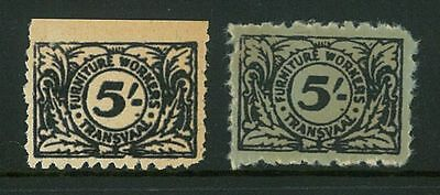 REVENUE  - Transvaal 5/- 1940 Furniture Workers (2 colours)