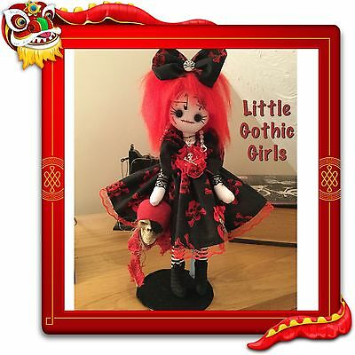 """Prima the 12"""" Gothic hand made rag doll by Little Gothic Girls"""