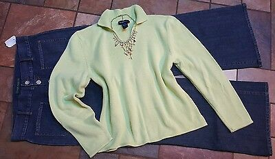 women's clothing lot outfit sz 14 NWT Ralph Lauren jeans, lg sweater, necklace