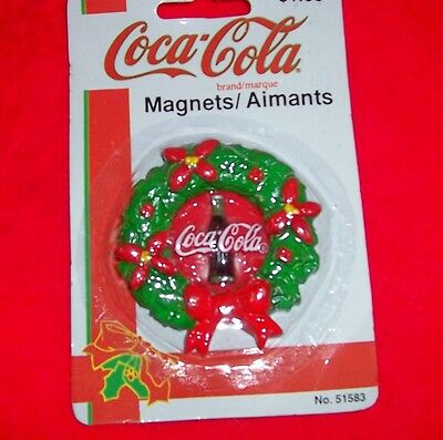 COCA COLA,  COKE Licensed Christmas Wreath Magnet, New In Package, FREE SHIPPING