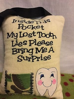 Tooth Fairy Camo Pocket Hanging Tooth Fairy Mini Pillow