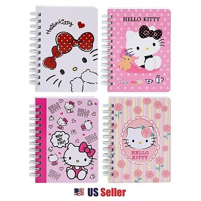 Sanrio Hello Kitty Cutie Mini Spiral Notebook / Notepad : Set of 4