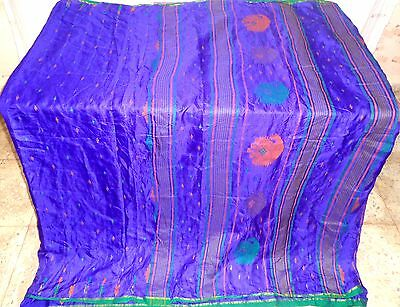 Blue Pure Silk 4 yard Vintage Sari Saree Girl's Cloth history Sary Gift #ADU8G