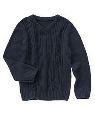 GYMBOREE HOLIDAY SHINE V Neck Cable Sweater Pullover Navy Blue Boys S 5-6 NEW