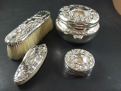 Wow !! Tiffany Sterling Silver 4 Piece Dresser Vanity Box Jar Set Never Used !!