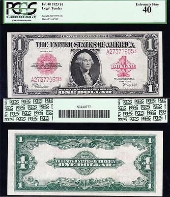 Awesome HIGH GRADE 1923 $1 RED SEAL US Note! FREE SHIP! PCGS 40! A27377955B