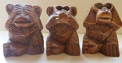 3  WISE MONKEYS, CHIMPANZEE, SPEAK, HEAR & SEE NO EVIL FIGURINE, WOOD, monkey