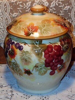 Tuscan Grapes and Leaves Kitchen Canister Cookie Jar