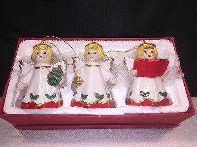 "Vintage 3 Christmas Angels Figurines Ornaments 4"" Tall Made in China"