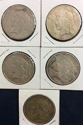 5 Peace Dollars Circulated Various Dates And Mint marks D