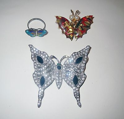 Antique STERLING SILVER BUTTERFLY JEWELRY Cloisonne & Rhinestone Collection